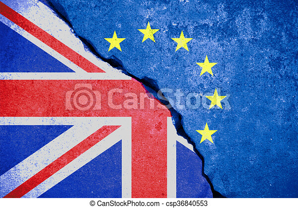 brexit blue european union EU flag on broken wall and half great britain flag - csp36840553