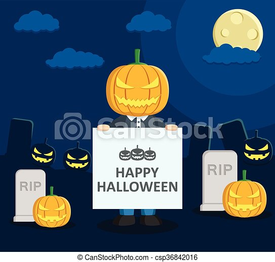 boy at Halloween party with banner - csp36842016