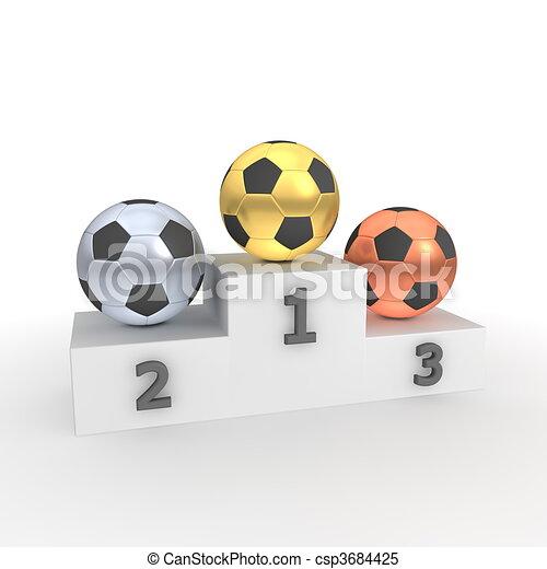 Victory Podium - Soccer Balls/Footballs Gold, Silver, Bronze - csp3684425