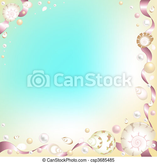Background with Starfish, Shells and Pink Ribbons - csp3685485