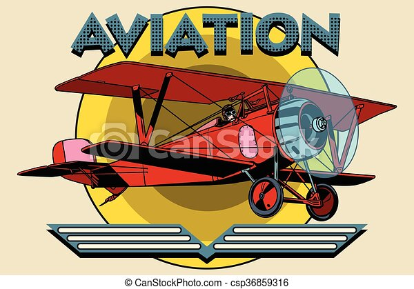 Retro two-winged plane aviation poster - csp36859316