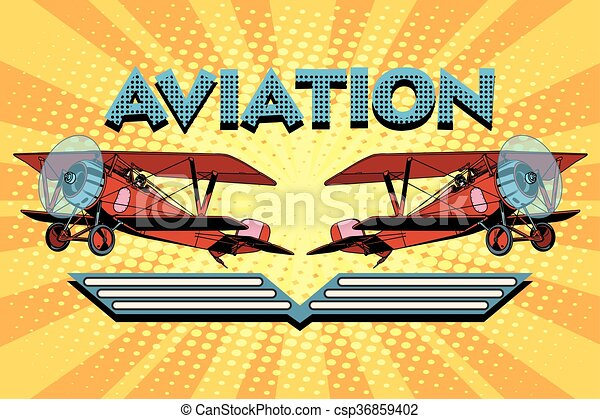 Retro two-winged plane aviation poster - csp36859402