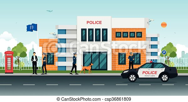 Police station clipart  Vector Clipart of police station - Police station with police cars ...