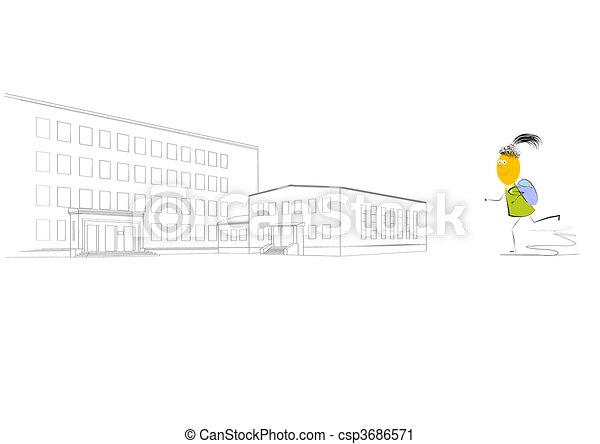Small girl go at school  - csp3686571