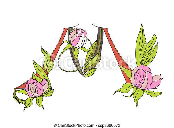 Floral font 2. Letter M - csp3686572