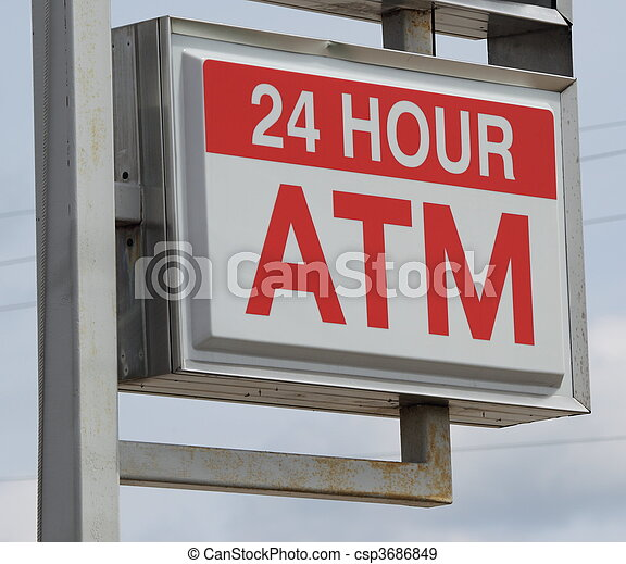 24 Hour ATM Sign - csp3686849