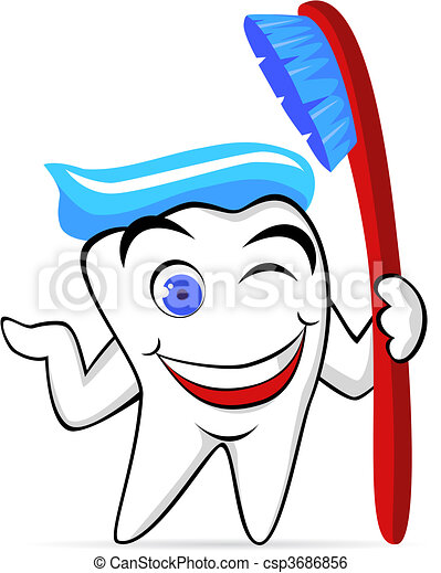 vector tooth character - csp3686856