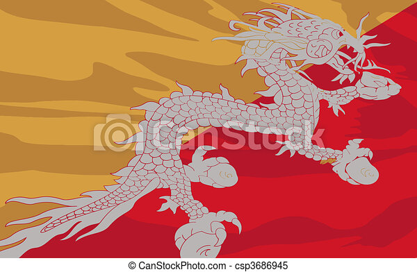 Vector flag of Bhutan - csp3686945