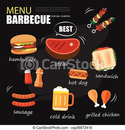 Vector clip art van set menu ontwerp mal uitnodiging barbecue feestje bbq csp36872416 - Barbecue ontwerp ...