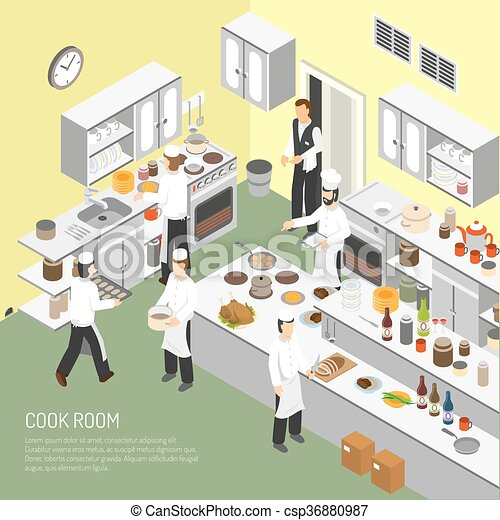 Vecteur de affiche isom trique cuisine salle for Materiel salle restaurant