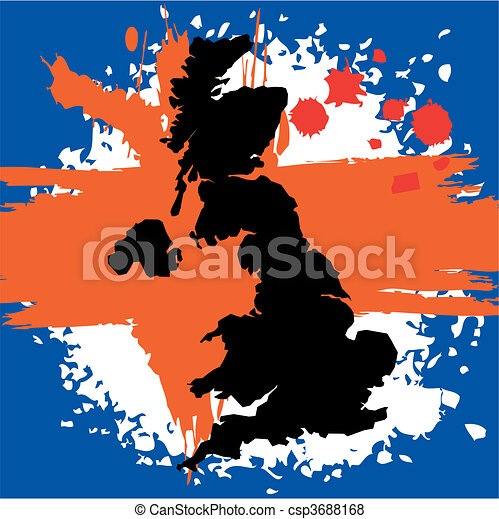 Grunge border line of country UK  - csp3688168