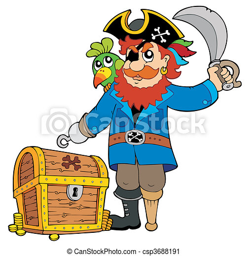 Pirate with old treasure chest - csp3688191