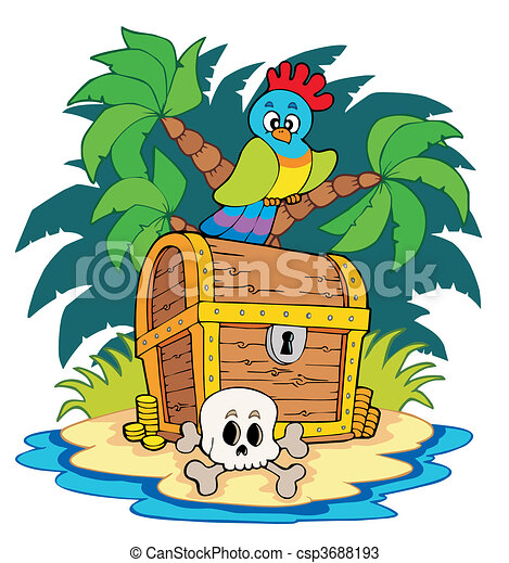 Pirate island with treasure chest - csp3688193