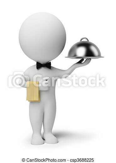 3d small people - waiter - csp3688225