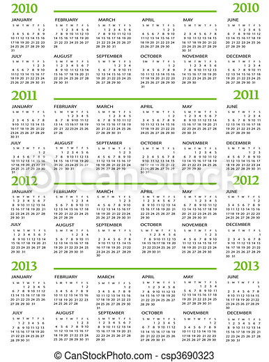 Calendar 2010, 2011, 2012, 2013 - csp3690323