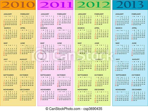 Calendars  2010, 2011, 2012,2013 - csp3690435