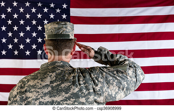 Veteran male solider saluting the flag of USA   - csp36908999