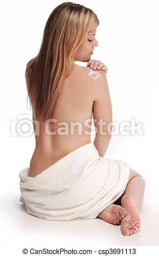 woman applying lotion to shoulder - csp3691113