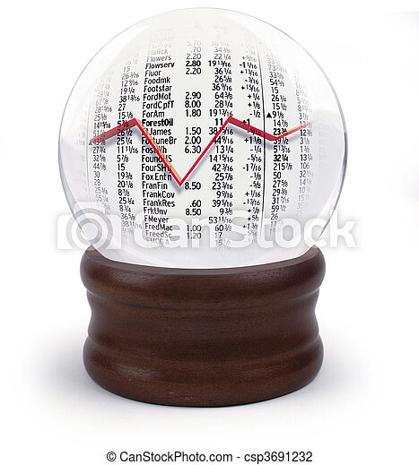 Crystal ball with stock market - csp3691232