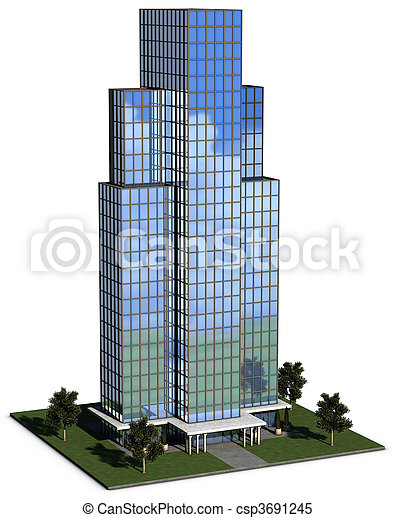 modern hi-rise corporate office building - csp3691245