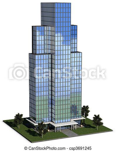 modern hi-rise corporate office building - csp3691245