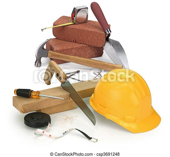 konstruktion, redskapen, material - csp3691248