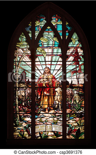 stained glass window with Jesus - csp3691376
