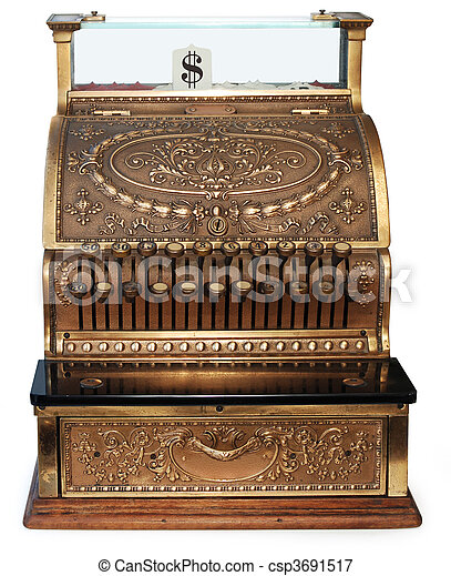 old fashioned cash register orthographic - csp3691517