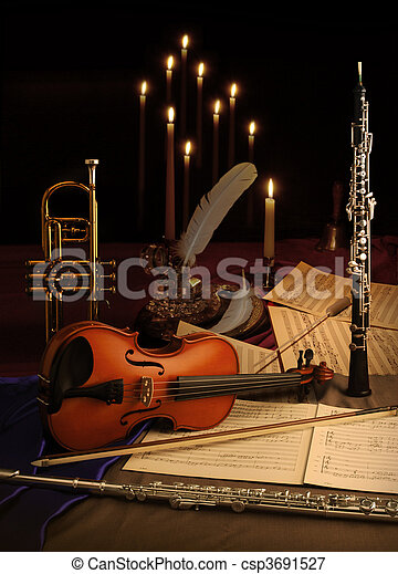 Picture of Musical Still Life - trumpet, violin, music ...