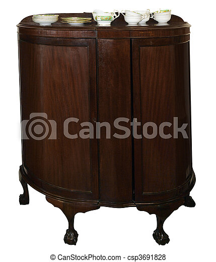 Antique Cabinet with Crockery - csp3691828