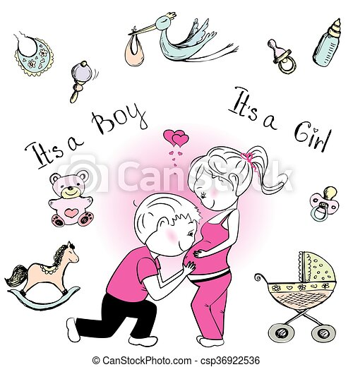Expecting A Baby Clipart Vectors of A loving co...