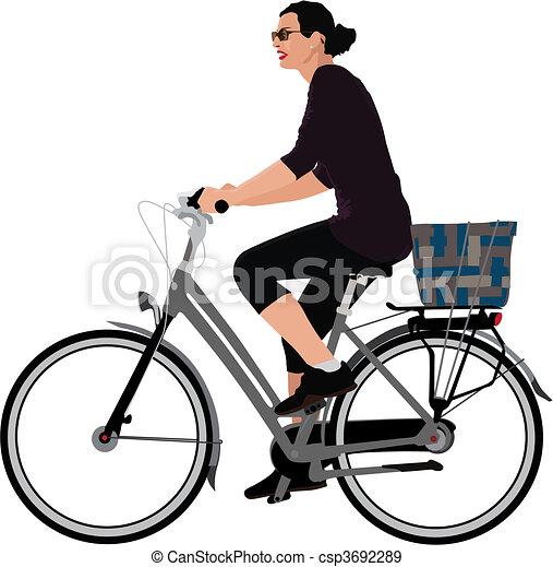 EPS Vectors of Biking woman - Color vector illustration of ...