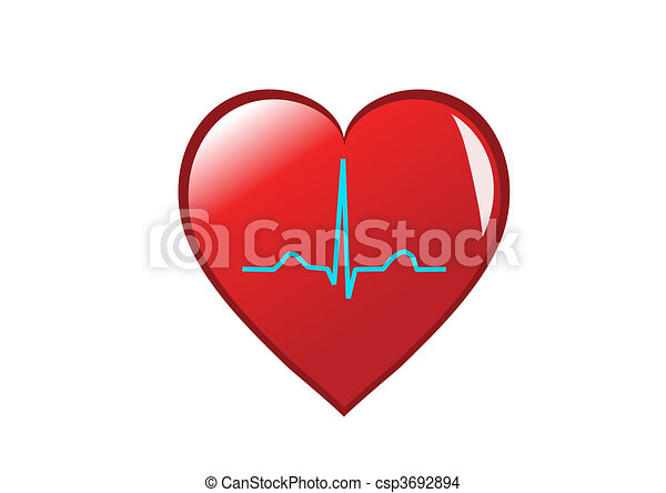 A red heart with a healthy sinus rhythm on it depicting a healthy heart. Isolated on white - csp3692894
