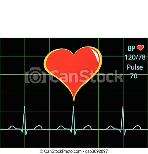 A healthy heart illustration with a cardiac trace - csp3692897