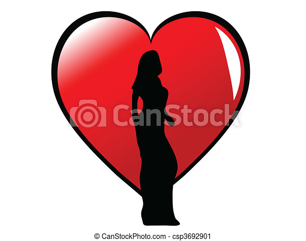 A sexy girl in silhouette standing in front of a large red heart, isolated on white - csp3692901