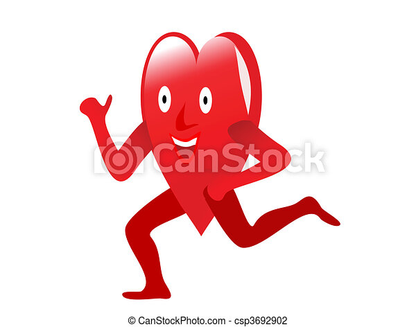 A red cartoon heart lifting weights depicting exercise for a healthy heart - csp3692902