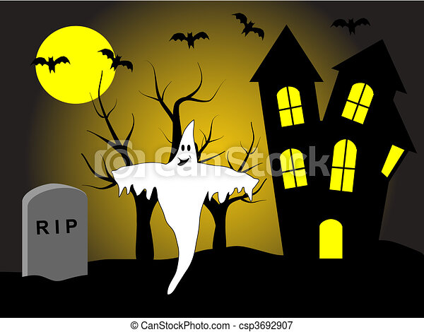 A halloween vector illustration with a happy ghost in front of a haunted house - csp3692907
