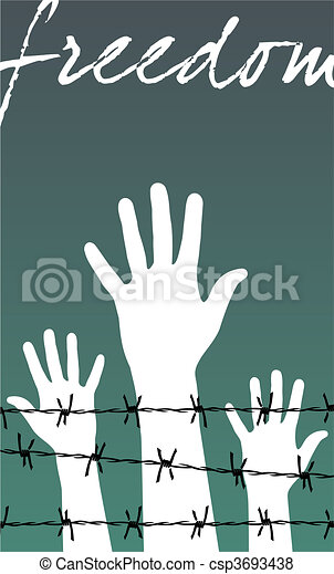 hands behind a barbed wire prison with the word Freedom - csp3693438