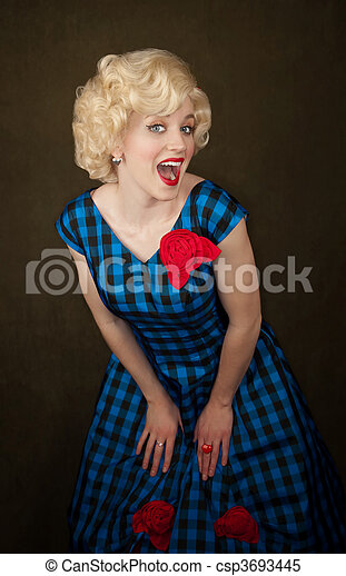 Pretty Retro Blonde Woman - csp3693445