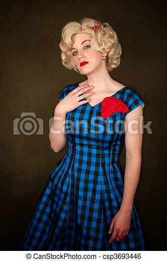 Pretty Retro Blonde Woman - csp3693446