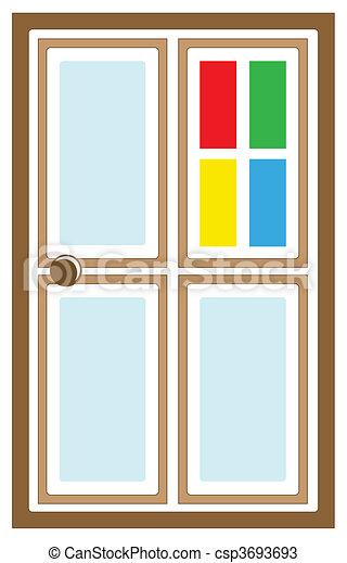 Vectors of Logo doors - Vector glass door with colored inserts for ...