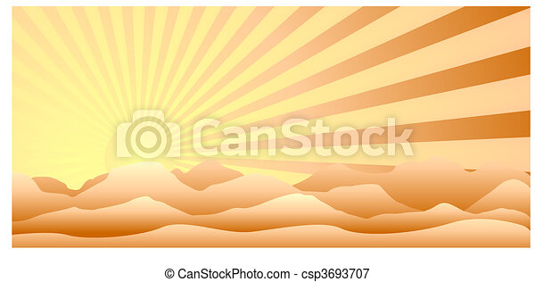 Sun behind the mountains - csp3693707
