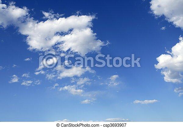 bleu, parfait, nuages, ciel, ensoleillé, journée, blanc - csp3693907