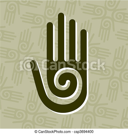 Hand with spiral symbol - csp3694400