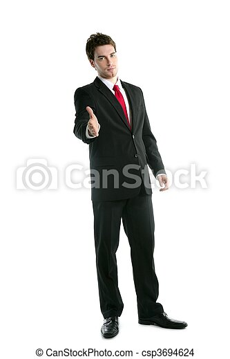 full length suit businessman friendly handshake - csp3694624