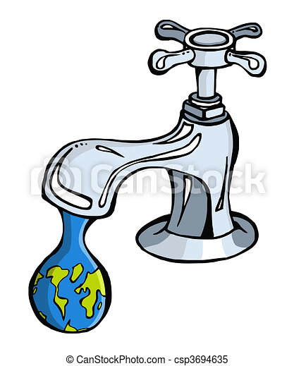 Clipart Vector of Water: limited resource2 - Leaking faucet the ...