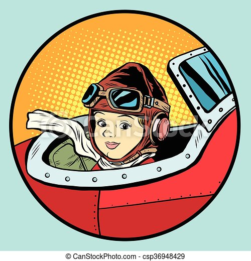 Child pilot plane game dream aviation - csp36948429