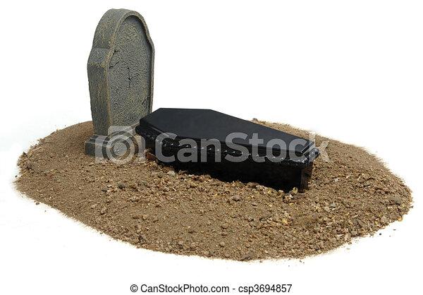 Grave & Tombstone on white - csp3694857