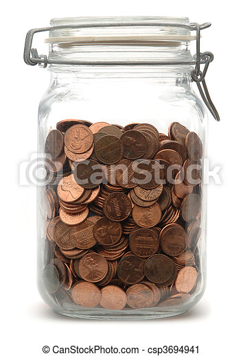 Jar of Pennies - csp3694941