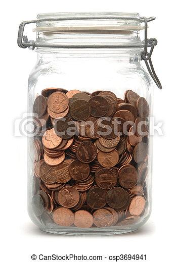 Jar of Pennies - csp3694941